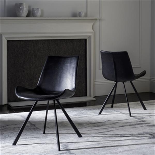 Safavieh Terra 31.50-in Black Midcentury Modern Faux Leather Dining Chairs (Set of 2)