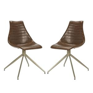 Safavieh Lynette 33.07-in Light Brown Midcentury Modern Faux Leather Dining Chairs (Set of 2)