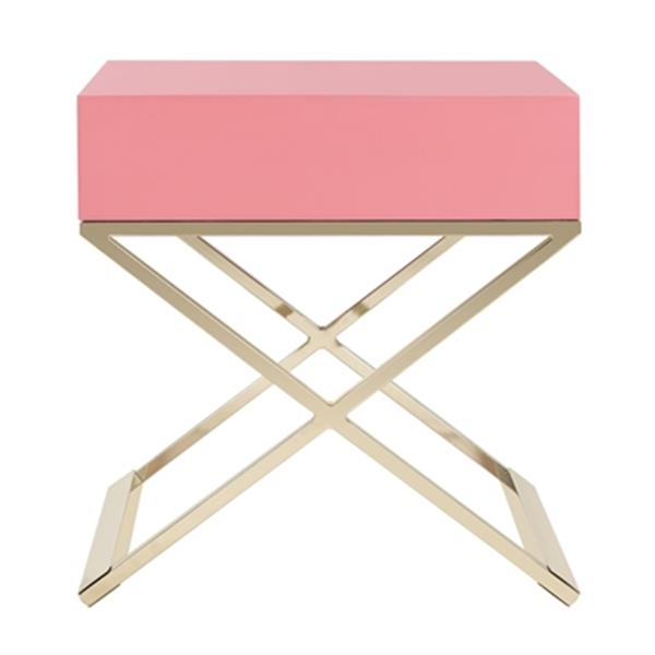 Safavieh Zarina 25.25-in Pink Modern Cross Leg End Table