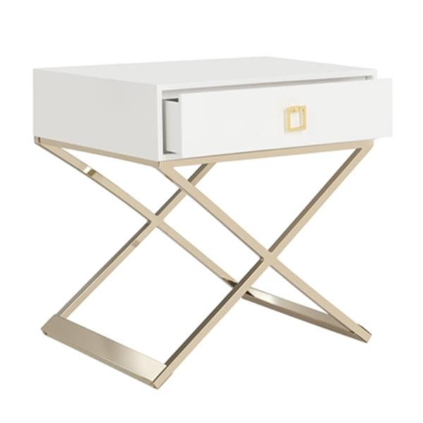 Safavieh Zarina 25.25-in White Modern Cross Leg End Table