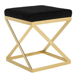 Safavieh Caia 19.00-in x 17.00-in Black  Velvet Stool