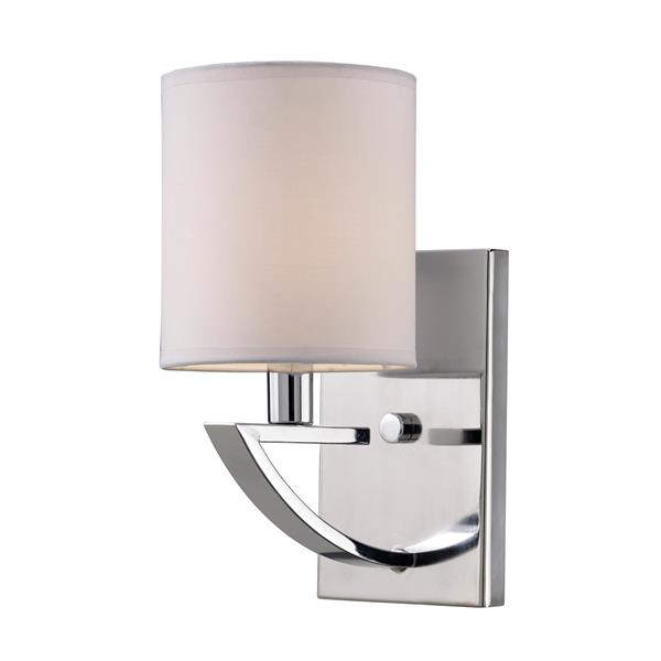Milano White Fabric and Chrome Finish Vanity Light
