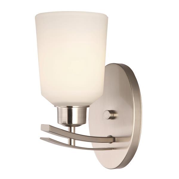 Canarm Ltd. Quincy 4.75-in x 10-in x 7-in 1-Light Brushed Nickel Vanity Wall Light