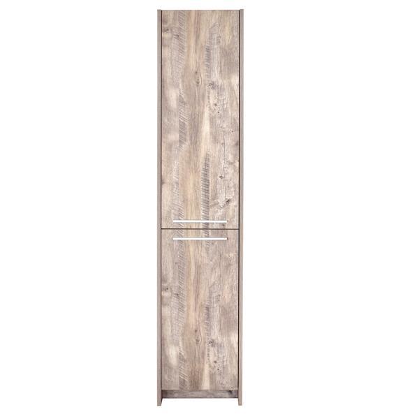 """Luxo Marbre 15.75"""" x 74.75"""" Natural Wood Melamine 2-Door open left side cabinet"""