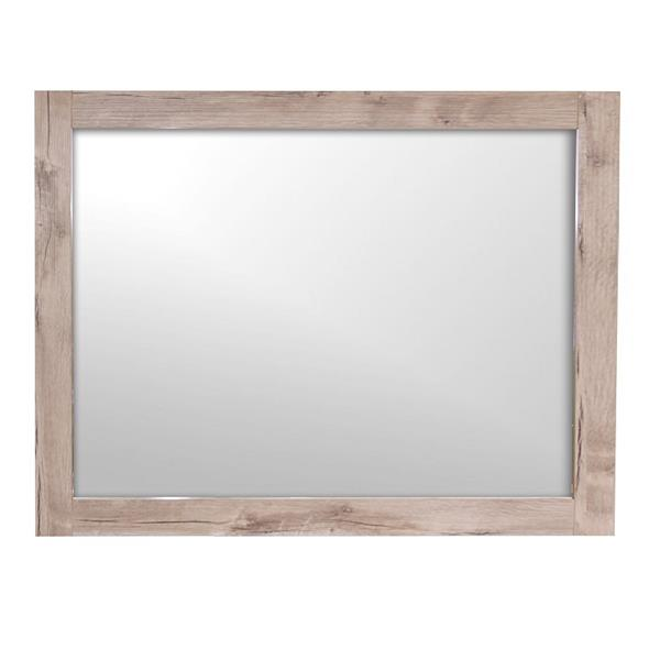 Luxo Marbre Relax 35.5-in x 29.5-in Natural Wood Melamine Mirror