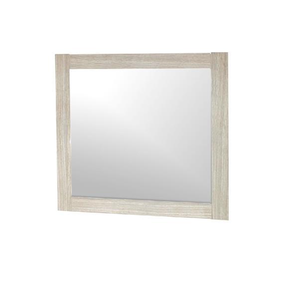 Luxo Marbre 23.5-in x 30-in Relax MDF Light Oak Mirror