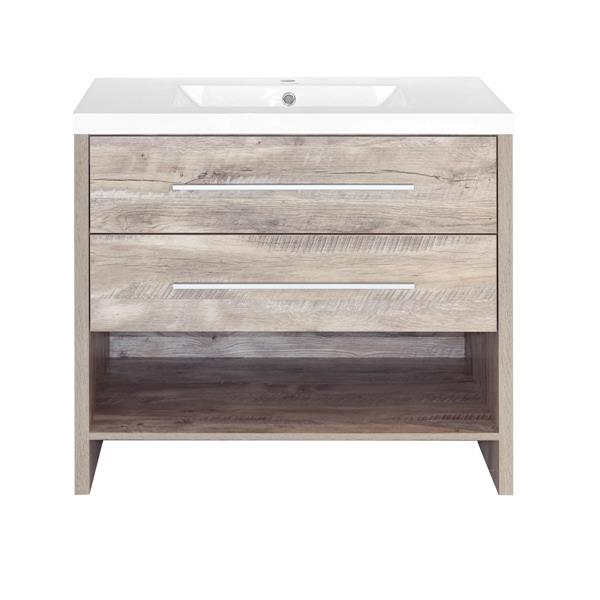 Sensational Luxo Marbre Relax 36 In Natural Wood Bathroom Vanity With Home Interior And Landscaping Ponolsignezvosmurscom