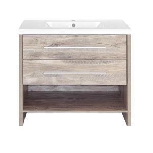 Meuble-lavabo simple Relax de Luxo Marbre, 2 tiroirs, 36 po, faux bois