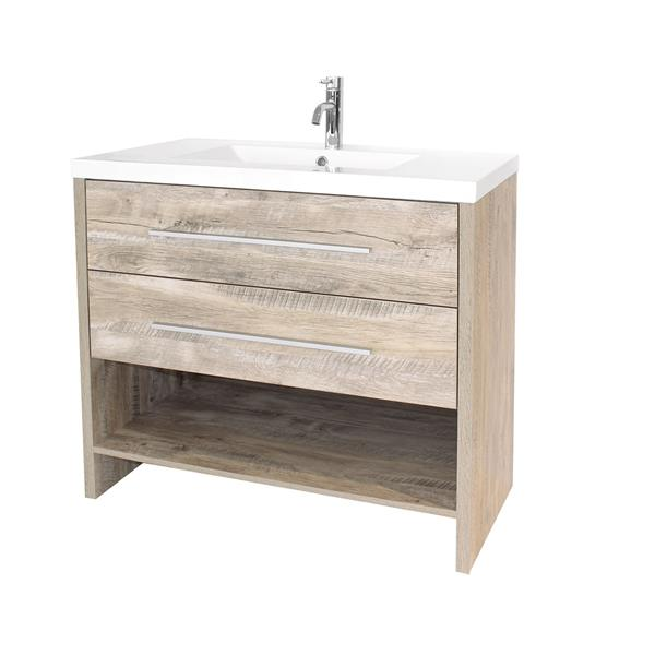 Luxo Marbre Relax 48-in Natural Wood Bathroom Vanity with Marble Top