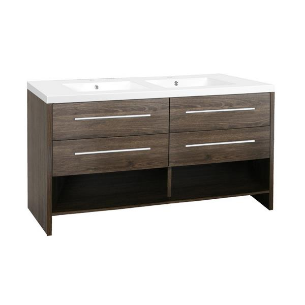 Luxo Marbre Relax 60.25-in Double Sink Brown Bathroom Vanity with Marble Top