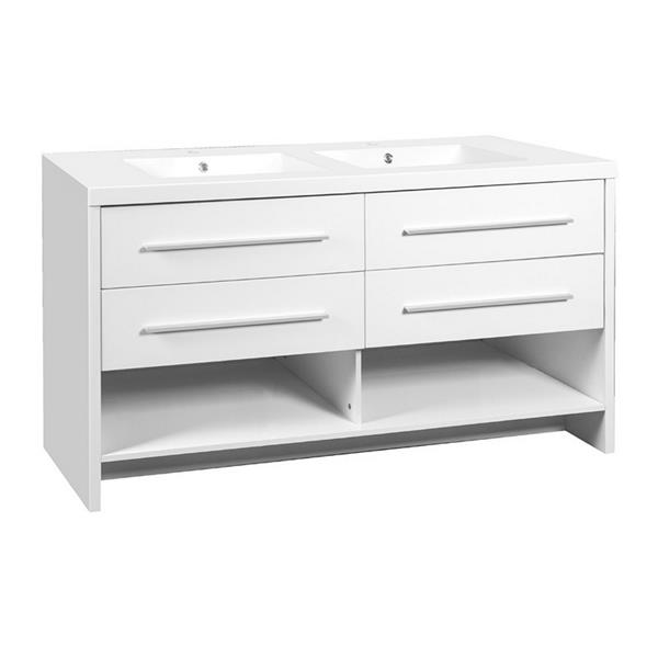 Luxo Marbre Relax 60.25 Double Sink White Bathroom Vanity with Marble Top