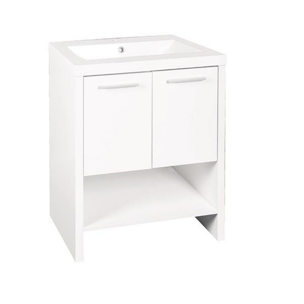 Luxo Marbre Relax 24.25-in White Bathroom Vanity with Marble Top