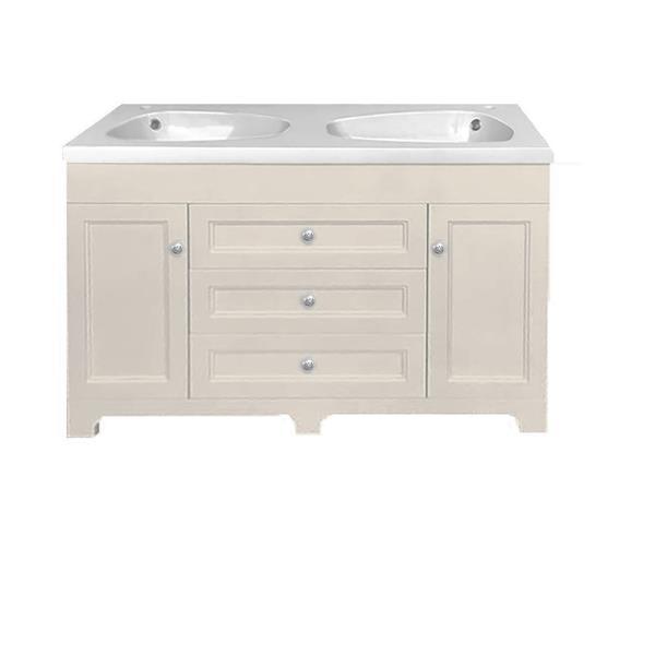 "Classic Vanity - 2 Sinks - 3 drawers - 47.25"" - MDF"
