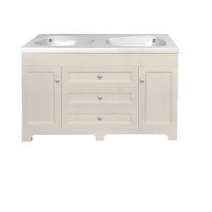 Vanité Classic lavabo double, 3 tiroirs, 47,25