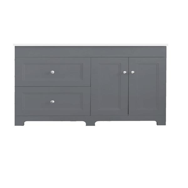 Classic 60.25-in Double Sink Gray Bathroom Vanity with Marble Top