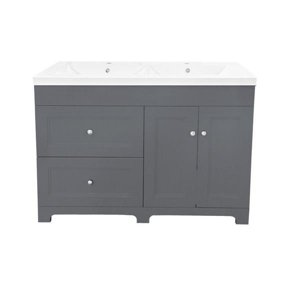 Luxo Marbre Classic 49-in Double Sink Gray Bathroom Vanity with Marble Top
