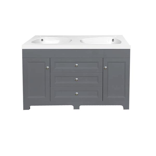 Luxo Marbre Classic 47.25-in Double Sink Gray Bathroom Vanity with Marble Top