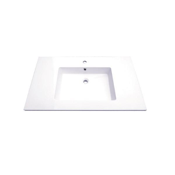 Meuble-lavabo simple Classic de Luxo Marbre, 2 portes et 2 tiroirs, 37 po, gris laqué