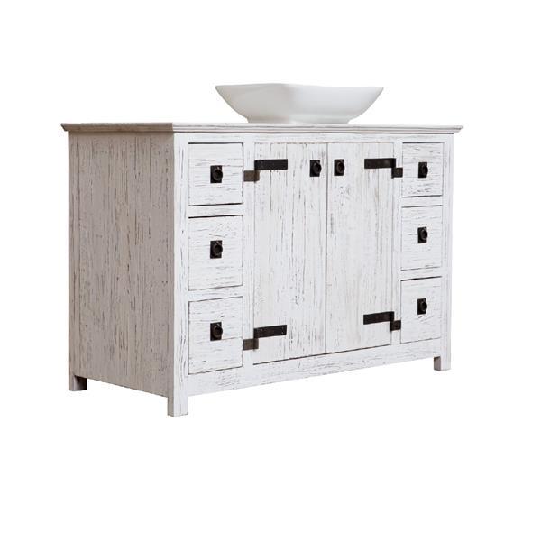 "Vanité Artisan, 6 tiroirs, 48"" x 32"", bois, blanc"