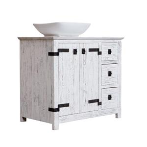Luxo Marbre Artisan Bathroom Vanity with Sink - 36-in x 32-in - White Wood