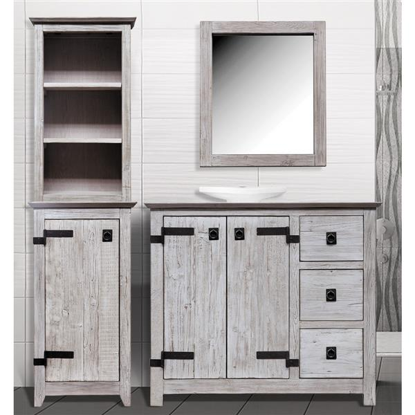 Luxo Marbre Artisan Recycled Natural  29.5-in x 25-in White Mirror