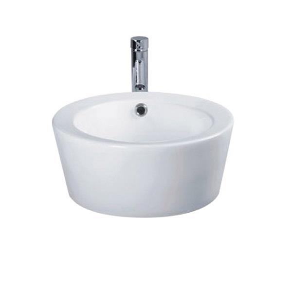 Luxo Marbre White Porcelain 18-in 1-hole Cylinder Sink