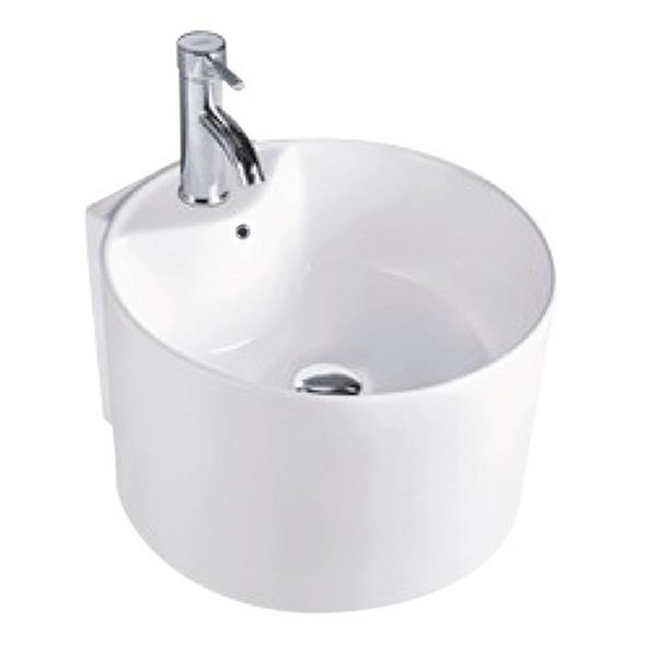 Luxo Marbre White Porcelain 16-in 1-hole Cylinder Sink