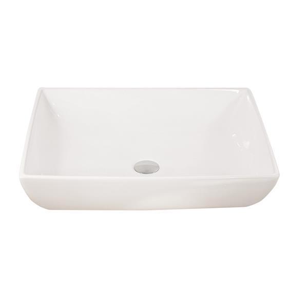 """Lavabo rectangulaire Luxo Marbre, 23,5"""", porcelaine, blanc"""