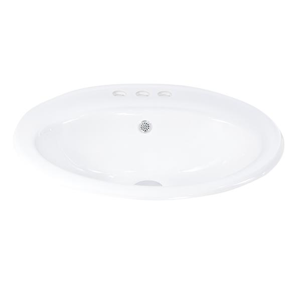 Luxo Marbre 20-in White Porcelain 3-hole Oval Sink
