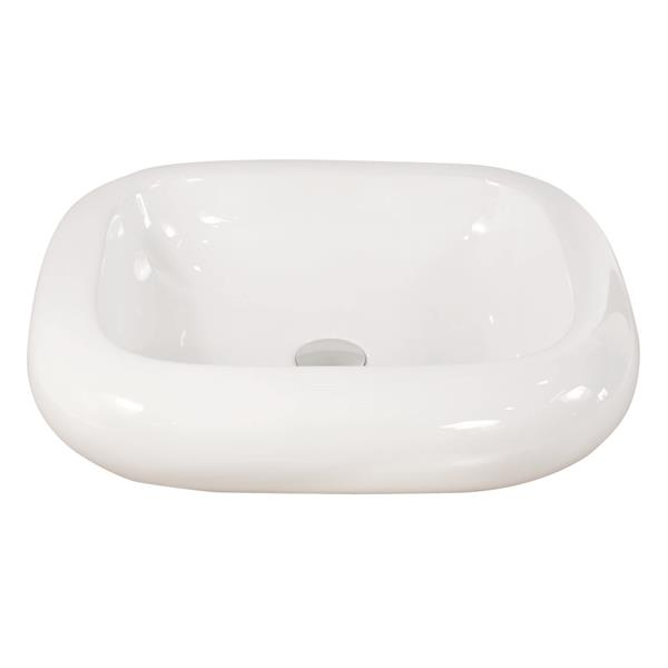 Luxo Marbre White Porcelain 21.25-in 1-hole Rectangular Sink