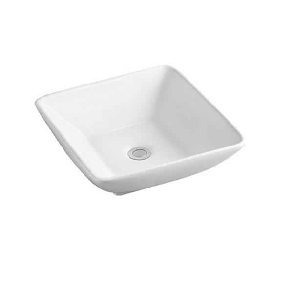 Luxo Marbre White Porcelain 16.25-in 1-hole Square Sink