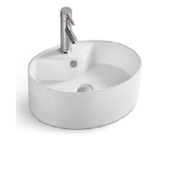 Luxo Marbre 20.5-in White Porcelain 1-hole Oval Sink