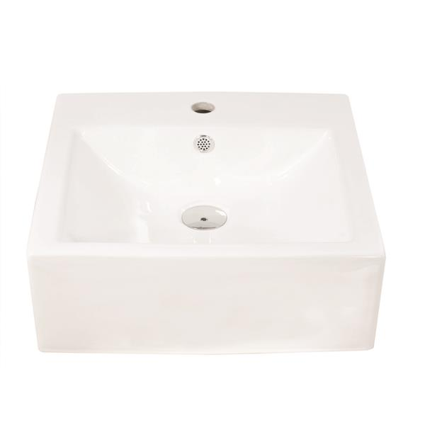Luxo White Porcelain 18.5-in 1-hole Square Round Sink