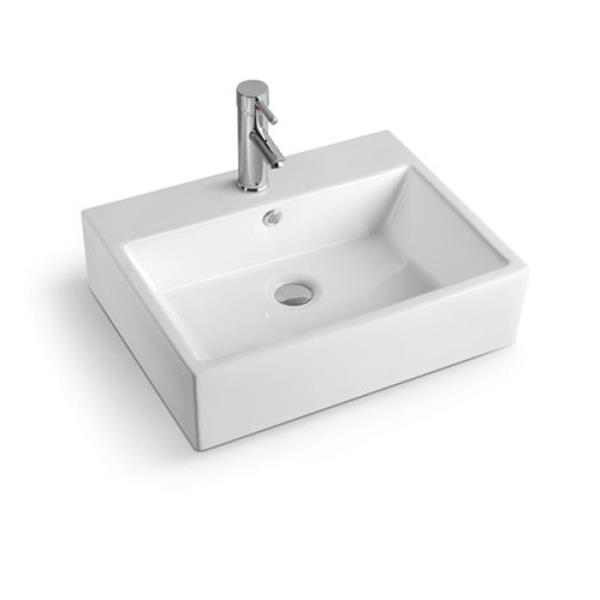 Luxo Marbre White Porcelain 24.25-in 1-hole Rectangular Sink