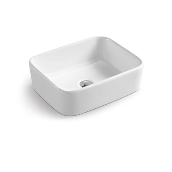 """Lavabo rectangulaire Luxo Marbre, 19"""", porcelaine, blanc"""