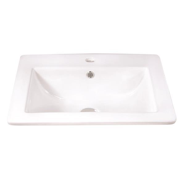 Luxo Marbre White Porcelain 21.25-in Built-in Sink