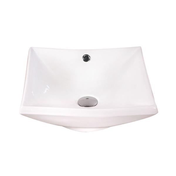 Luxo Marbre White Porcelain 16.5-in 1-hole Square Sink