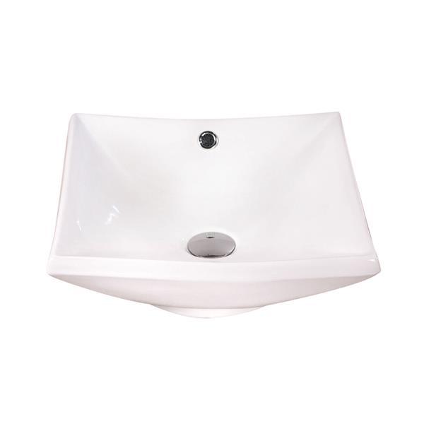 """Lavabo carré Luxo Marbre, 16,5"""", porcelaine, blanc"""
