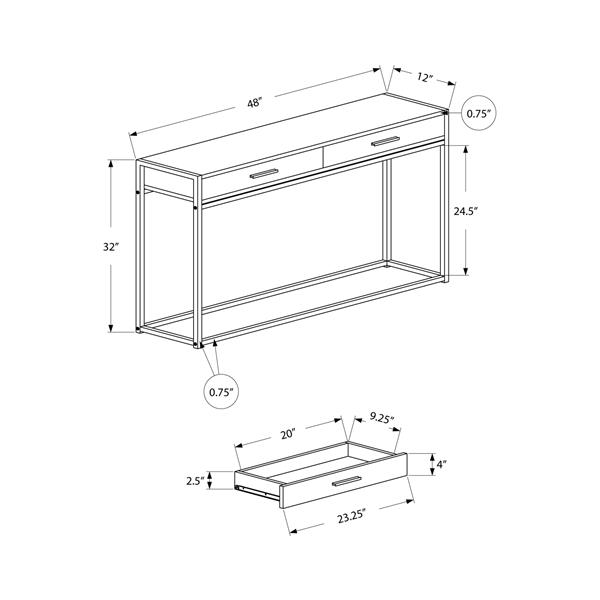"""Table d'appoint Monarch, 48"""" x 32"""", composite, taupe foncé"""