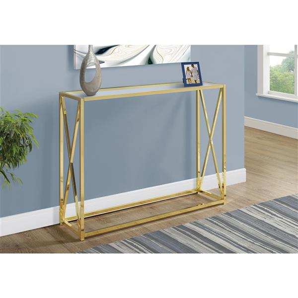 Monarch 42.25-in x 32.25-in Gold Glass Accent Table