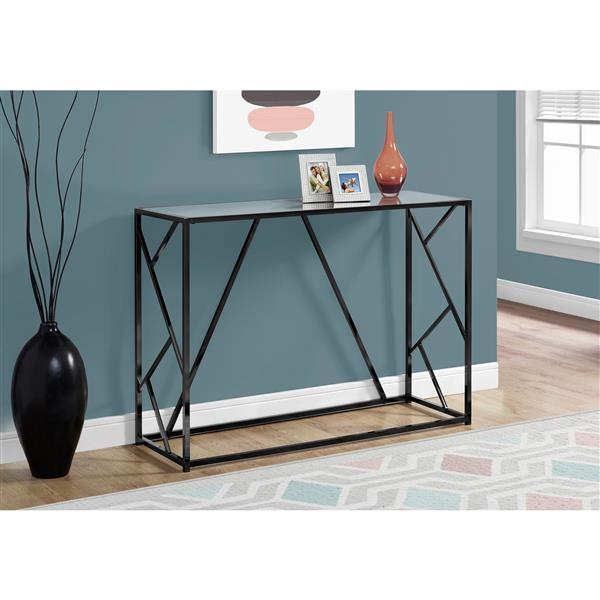 "Table d'appoint Monarch, 44"" x 32"", verre, noir"