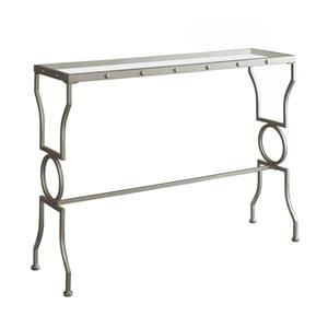 "Table d'appoint Monarch, 42"" x 31,75"", verre, argent"