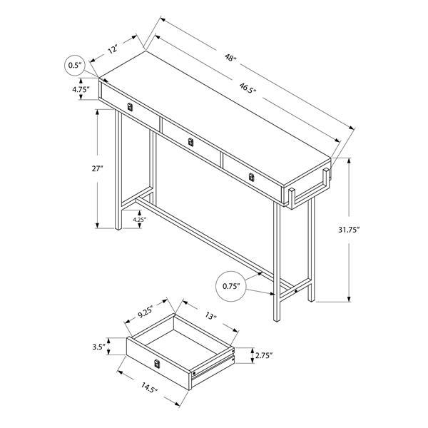 """Table d'appoint Monarch, 48"""" x 31,75"""", composite, blanc"""