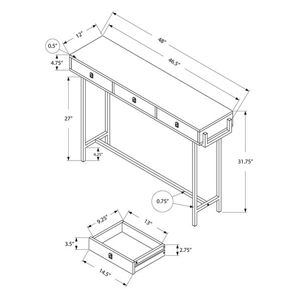 """Table d'appoint Monarch, 48"""" x 31,75"""", composite, gris"""