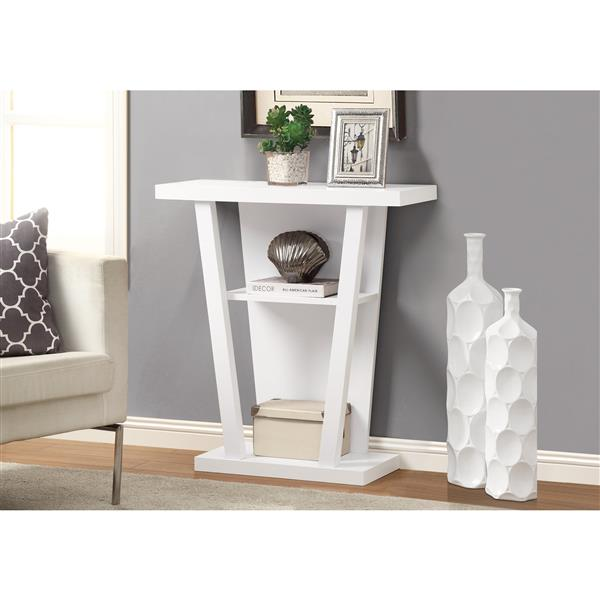 Monarch 31.5-in x 33.75-in Composite White Accent Table