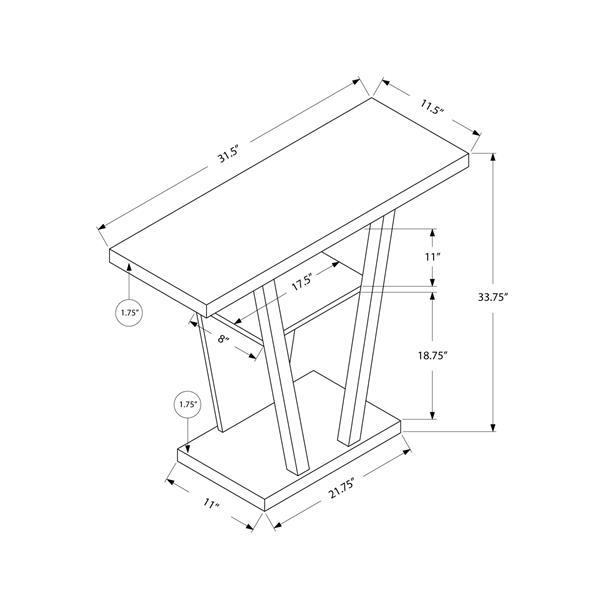 """Table d'appoint Monarch, 31,5"""" x 33,75"""", composite, blanc"""