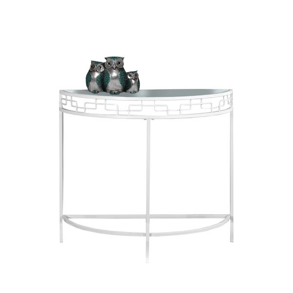 Monarch 36-in x 31.75-in White Glass Accent Table