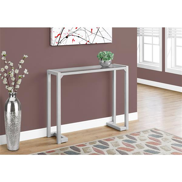 Monarch 42-in x 32-in Silver Glass Accent Table