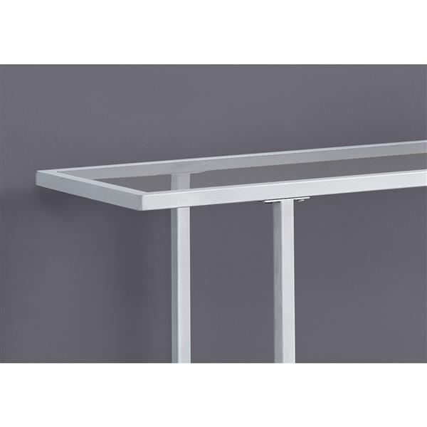 Monarch 41.75-in x 32-in Silver Glass Accent Table