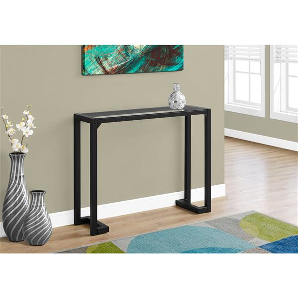 Monarch 42-in x 32-in Black Glass Accent Table